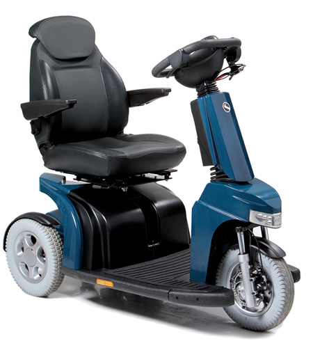 the elite 2 plus 3 wheel is an electric scooter in either black or red which is manufactured to be a road scooter and mobility scooters sold online at mobility aids