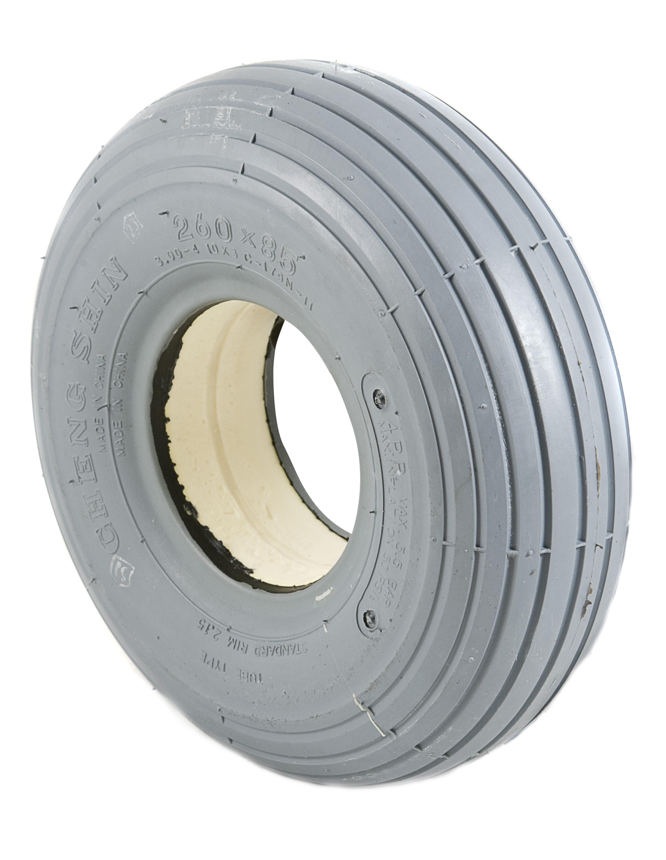260 X 85 (3.00-4) Grey Solid Tyre - Mobility Aids Uk