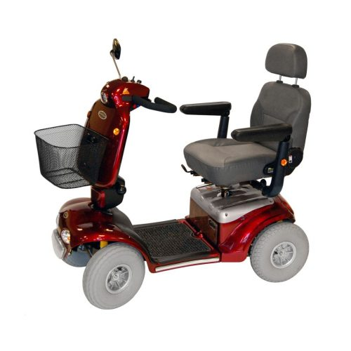 the shoprider cadiz is an electric scooter in either black or red which is manufactured to be a road scooter and mobility scooters sold online at mobility aids