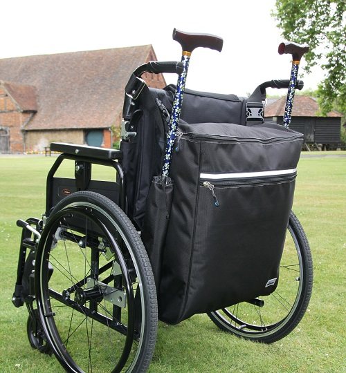 The goliath crutch holder crutch bag is a large rucksack which acts as a walking stick holder. The scooter bag is like a scooter backpack and attaches on the back of a mobility aids mobility scooter